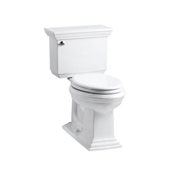 Kohler K-3817-0 Memoirs Comfort Height Two Piece Elongated 1.28 Gpf Toilet with Stately Design - White