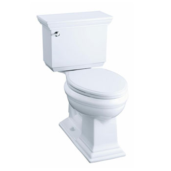 Kohler K-3819-0 Memoirs Comfort Height Two Piece Elongated 1.6 Gpf Toilet with Stately Design - White