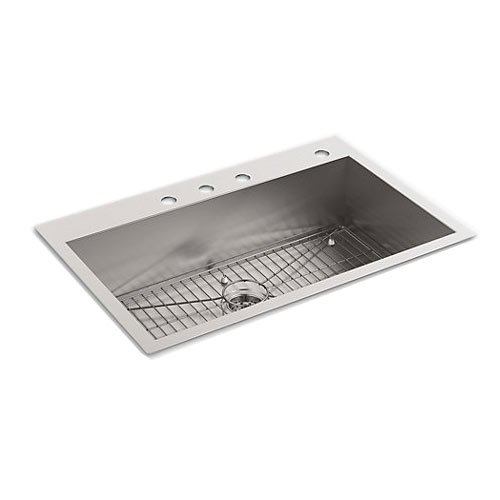 Kohler K-3821-4 Vault Large Single Kitchen Sink With Four-Hole Faucet Drilling - Stainless Steel
