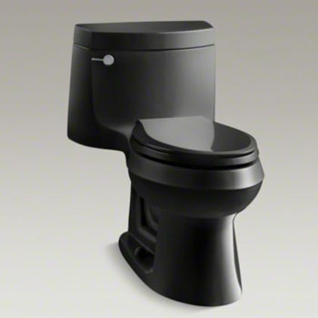 Kohler K-3828-7 Cimarron One Piece Elongated 1.28 gpf Exposed Trap Toilet - Black