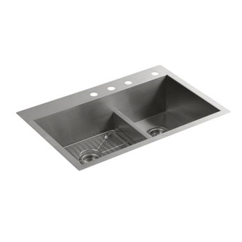 Kohler K-3839-4-NA Vault Smart Divide Offset Sink