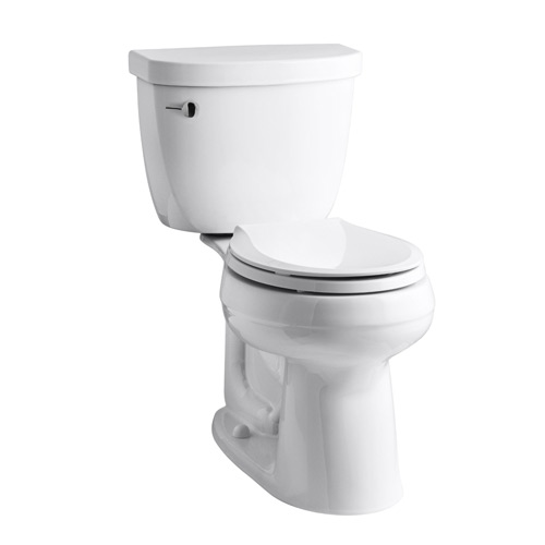 Kohler K-3851-0 Cimarron Comfort Height Two Piece Round Front 1.28 gpf Toilet with AquaPiston Flush Technology and Left Hand Trip Lever - White