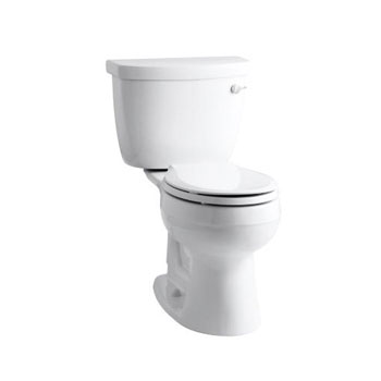 Kohler K-3887-RA-0 Cimarron Comfort Height Two Piece Round Front 1.28 gpf Toilet with Right Hand Trip Lever - White