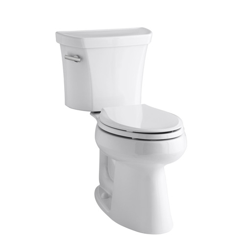 Kohler K-3889-0 Highline Comfort Height Two Piece Elongated 1.28 gpf Toilet with Class Five Flush Technology and Left Hand Trip Lever - White