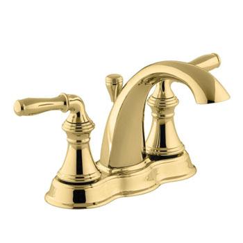 Kohler K-393-N4-PB Devonshire Centerset Lavatory Faucet - Polished Brass