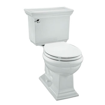 Kohler K-3933-0 Memoirs Comfort Height Two Piece Round Front 1.28 GPF Toilet with Stately Design - White