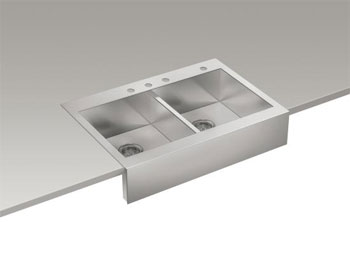 Kohler K-3944-4-NA Vault Top Mount Double Basin Stainless Steel Sink with Shortened Apron Front for 36