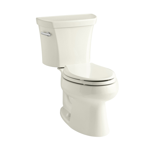 Kohler K-3978-96 Wellworth Two Piece Elongated 1.6 gpf Toilet with Class Five Flush Technology and Left Hand Trip Lever - Biscuit