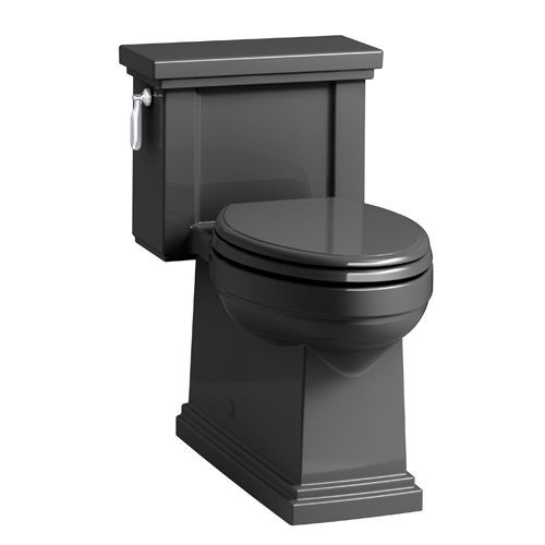 Kohler K-3981-7 Tresham Comfort Height Skirted One-Piece Compact Elongated 1.28 gpf Toilet with Left Hand Trip Lever - Black Black