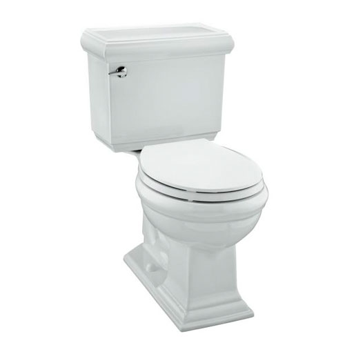 Kohler K-3986-7 Memoirs Comfort Height Two Piece Round Front 1.28 GPF Toilet with Classic Design - Black (Pictured in White)