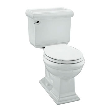 Kohler K-3986-0 Memoirs Comfort Height Two Piece Round Front 1.28 GPF Toilet with Classic Design - White