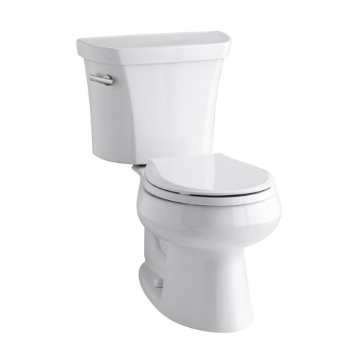 Kohler K-3997-0 Wellworth Two Piece Round Front 1.28 gpf Toilet with Class Five Flush Technology and Left Hand Trip Lever - White