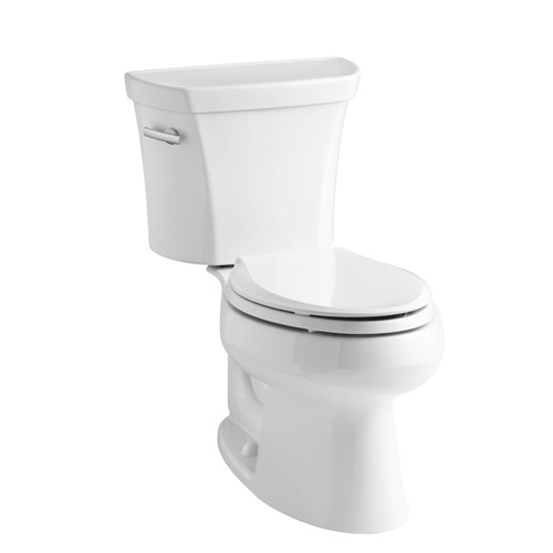 Kohler K-3998-0 Wellworth Two Piece Elongated 1.28 gpf Toilet with Class Five Flush Technology and Left Hand Trip Lever - White