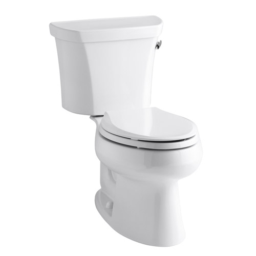 Kohler K-3998-RA-0 Wellworth Two Piece Elongated 1.28 gpf Toilet with Class Five flush Technology and Right Hand Trip Lever - White