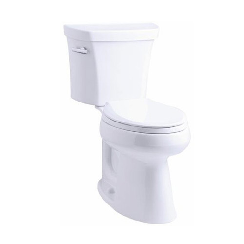 Kohler K-3999-0 Highline Comfort Height Two Piece Elongated 1.28 gpf Toilet with Class Five Flush Technology and Left Hand Trip Lever - White