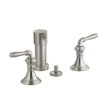 Kohler K-412-4-BN Devonshire Two Handle Vertical Spray Bidet Faucet - Brushed Nickel (Pictured in Chrome)