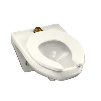 Kohler K-4330-96 Kingston Wall Mounted 1.6 gpf Flushometer Valve Toilet Bowl with Top Inlet, Requires Seat - Biscuit