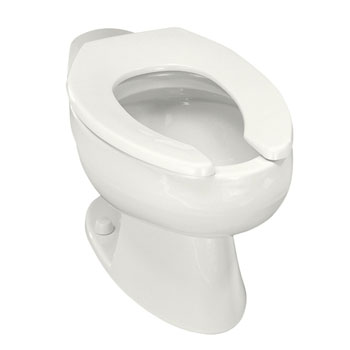 Kohler K-4349-0 Wellcomme 1.6 gpf Flushometer Valve Elongated Toilet Bowl with Rear Inlet, Requires Seat - White