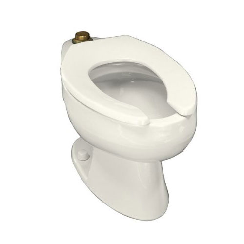 Kohler K-4350-96 Wellcomme Elongated Toilet Bowl With Top Spud - Biscuit (Seat Not Included)