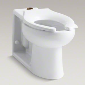 Kohler K-4388-0 Anglesey 1.6 gpf Flushometer Elongated Bowl with Integral Seat and Top Spud - White