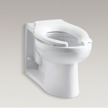 Kohler K-4396-0 Anglesey 1.6 gpf Flushometer Valve Elongated Bowl with Rear Inlet - White