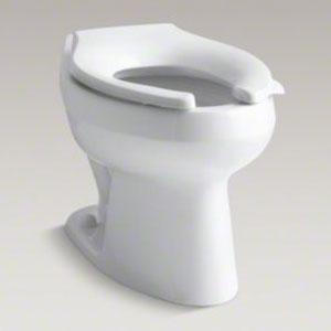 Kohler K-4406-0 Wellworth 1.28 gpf Flushometer Valve Elongated Flushometer Toilet Bowl with Top Inlet, Requires Seat - White