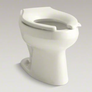 Kohler K-4406-96 Wellworth 1.28 gpf Flushometer Valve Elongated Flushometer Toilet Bowl with Top Inlet, Requires Seat - Biscuit