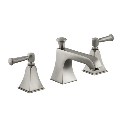 Kohler K-454-4S-BN Memoirs Widespread Lavatory Sink Faucet with Lever Handles - Brushed Nickel