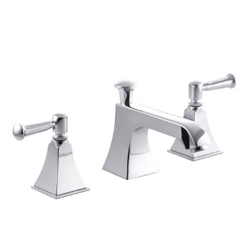 Kohler K-454-4S-CP Memoirs Widespread Lavatory Faucet with Stately Design and Lever Handles - Polished Chrome