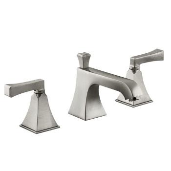 Kohler K 454 4V BN Memoirs Widespread Lavatory Faucet W/Deco Lever Handles    Brushed Nickel