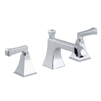 Kohler K-454-4V-CP Memoirs Widespread Lavatory Faucet w/Deco Lever Handles - Polished Chrome