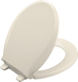 Kohler K-4639-47 Cachet Quiet Close Quick-Release Round Front Toilet Seat - Almond