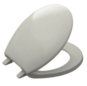 Kohler K-4644-95 Bancroft Round-front Toilet Seat with Solor Matched Plastic Hinges - Ice Grey