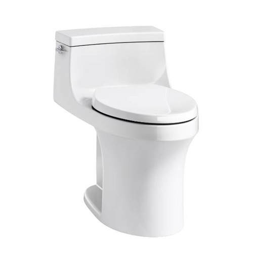 Kohler K-5172-0 San Souci Comfort Height One Piece Compact Elongated 1.28 gpf Toilet with AquaPiston Flushing Technology and Left Hand Trip Lever - White