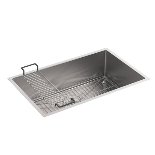 Kohler K-5409-NA Strive 29 in x 18-5/16 in x 9-5/16 in Undermount Medium Single Bowl Kitchen Sink with Basin Rack - Stainless Steel