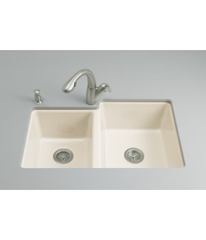 Kohler K-5814-4U-96 Clarity Double Bowl Undercounter Kitchen Sink - Biscuit