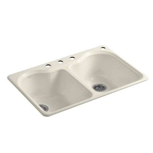 Kohler K-5818-4-47 Hartland 33 in x 22 in x 9-5/8 in Top-mount Double Equal Kitchen Sink with 4 Faucet Holes - Almond