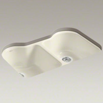 Kohler-K-5818-5U-47-Hartland-Double-Bowl-Kitchen-Sink-Undermount-with-5-Faucet-Holes---Almond