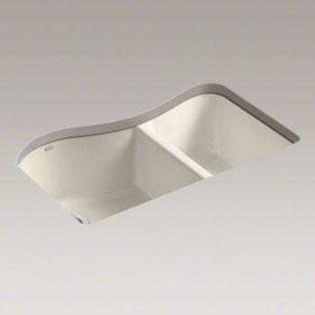 Kohler K 5841 4u 47 Lawnfield Double Bowl Kitchen Sink Undermount With 4 Oversize Faucet Holes