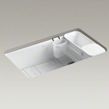 Kohler K-5871-5UA3-0 Riverby Single Bowl Undermount Kitchen Sink with Accessories - White