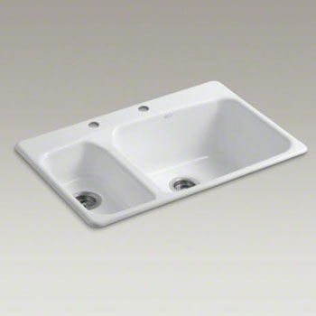 Kohler K-5924-2-0 Lakefield Double High/Low Bowl Kitchen Sink Top Mount with 2 Faucet Holes - White