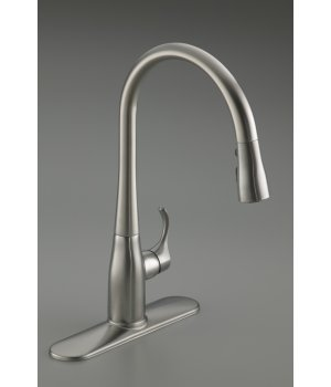 Kohler K-596-BL Simplice Single Hole Pulldown Kitchen Faucet - Matte Black (Pictured in Vibrant Stainless Steel)
