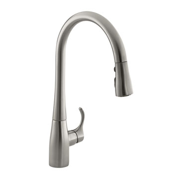 Kohler K-596-VS Simplice Single Hole Pulldown Kitchen Faucet - Vibrant Stainless Steel