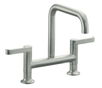 Kohler K-6125-4-BV Torq Deck Mount Kitchen Bridge Faucet - Vibrant Brushed Bronze (Pictured in Vibrant Stainless Steel)