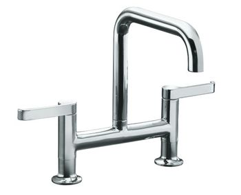 Kohler K-6125-4-CP Torq Deck Mount Kitchen Bridge Faucet - Polished Chrome