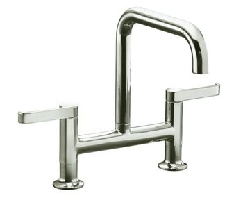 Kohler K-6125-4-SN Torq Deck Mount Kitchen Bridge Faucet - Vibrant Satin Nickel