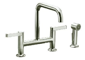 Kohler K-6126-4-BL Torq Deck-Mount Bridge Kitchen Faucet w/Sidespray - Matte Black (Pictured in Brushed Nickel)
