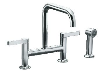 Kohler K-6126-4-CP Torq Deck-Mount Bridge Kitchen Faucet w/Sidespray - Polished Chrome