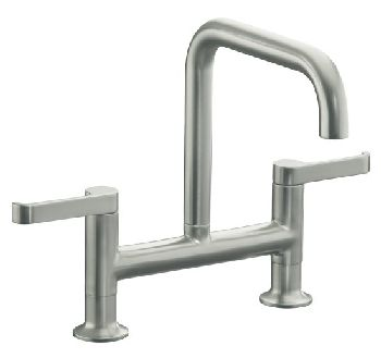 Kohler K-6126-4-VS Torq Deck-Mount Bridge Kitchen Faucet w/Sidespray - Vibrant Stainless Steel (Pictured w/o Sidespray)