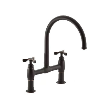 Kohler K-6130-3-BRZ Parq Deck-Mount Kitchen Bridge Faucet - Oil Rubbed Bronze